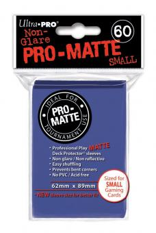 Ultra Pro Kartenhüllen - Japanische Größe reflexionsfrei (60) - Blau (Pro-Matte)