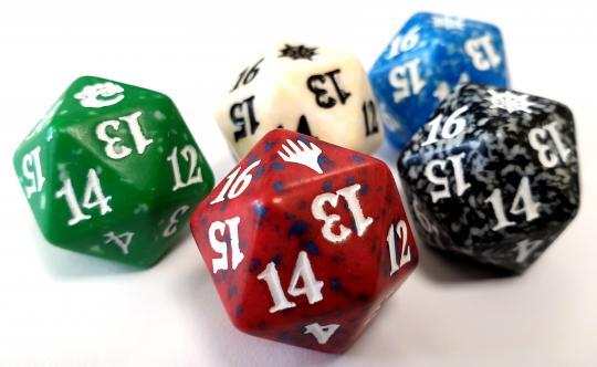 5x Magic: the Gathering W20 Spindown Lebenspunktezähler (Manafarben)