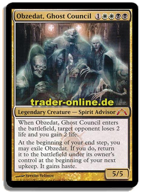 Obzedat Ghost Council Trader Online De Magic Yu Gi Oh Trading Card Online Shop For Card Singles Boosters And Supplies When ghost council of orzhova enters the battlefield, target opponent loses 1 life and you gain 1 , sacrifice a creature: obzedat ghost council