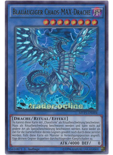 Yu-Gi-Oh MVP1-DEG04//DEG08 Blauäugiger Chaos-MAX-Drache Chaosform GOLD RARE SET
